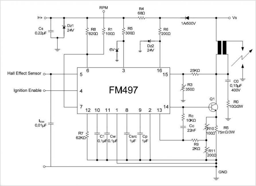 FM497 FM497 Hall Effect Pickup Ignition Controller - schematic