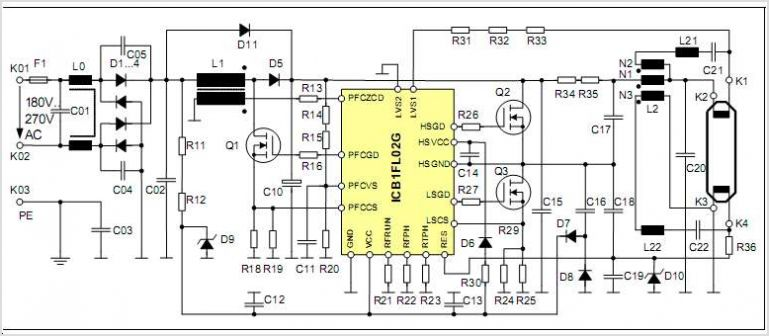 ICB1FL02G Smart Ballast Control IC For Fluorescent Lamp Ballasts - schematic