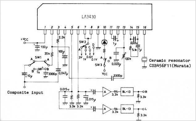 LA3430 VCO Non-adjusting Multi-PLL For FM Car Radios - schematic