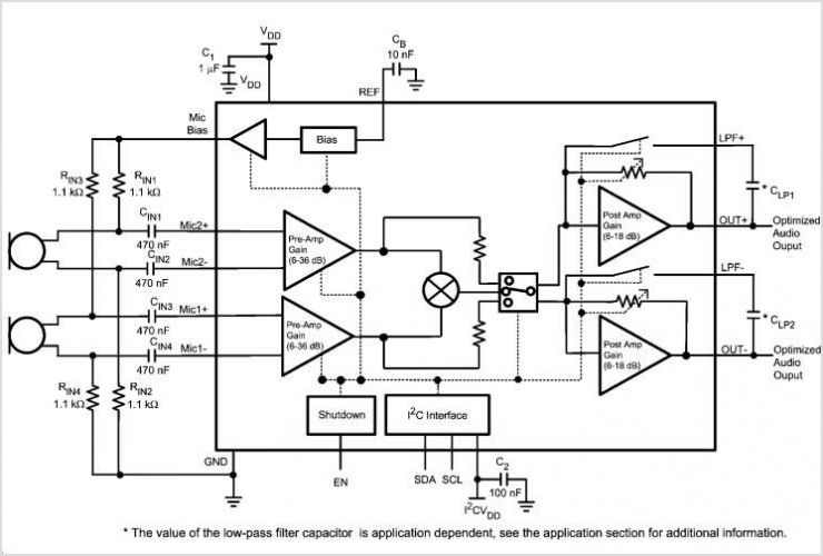 LMV1090 Dual Input Far Field Noise Suppression Microphone Amplifier - schematic