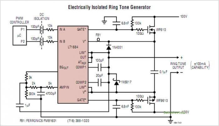 LT1684CN Micropower Ring Tone Generator - schematic