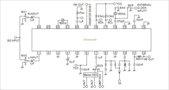 LV2283VB FM Transmitter IC With Stereo Modulation - schematic