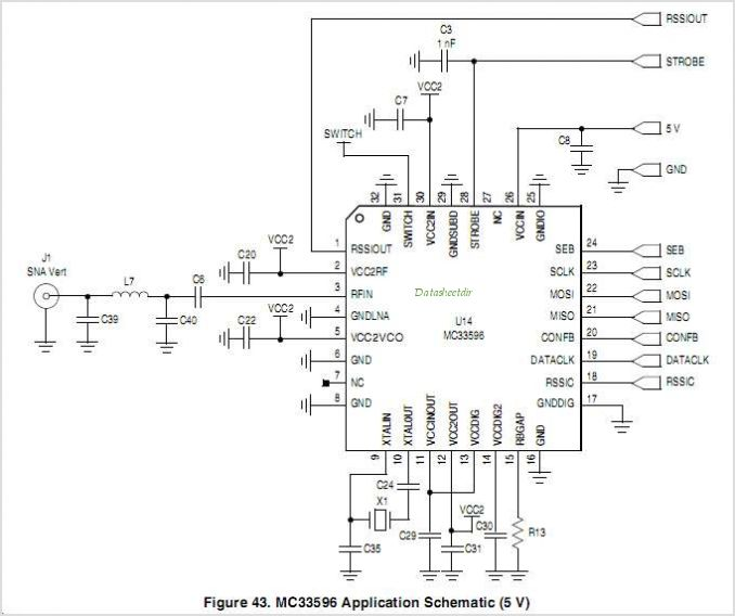 MC33596 MC33596: PLL Tuned UHF Receiver - schematic