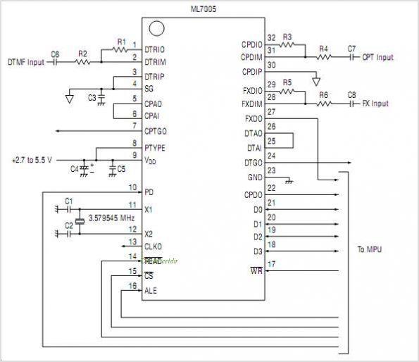 ML7005 DTMF Transceiver ML7005DTMF Transceiver - schematic