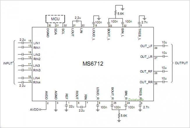 MS6712 4 Stereo Inputs And 4-Channel Outputs Volume Tone Balance Fader Loudness And Selectable Input Gain - schematic