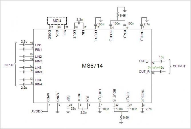MS6714 4 Stereo Inputs And 1 Stereo Output Volume Tone Balance Loudness And Selectable Input Gain - schematic