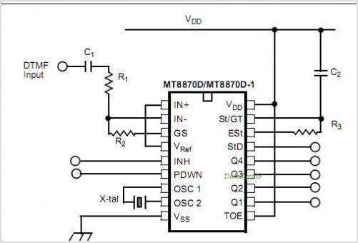 MT8870D Integrated DTMF Receiver With Enhance Sensitivity - schematic