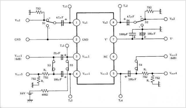 NJM2268 NJM2268 DUAL VIDEO 6dB AMPLIFIER - schematic