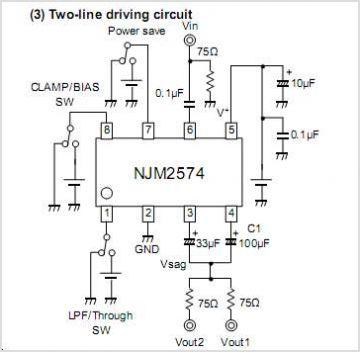NJM2574 NJM2574 LOW VOLTAGE VIDEO AMPLIFIER WITH LPF - schematic