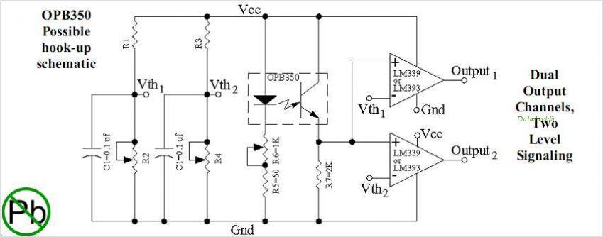 OPB350 Tube Liquid Sensor - schematic