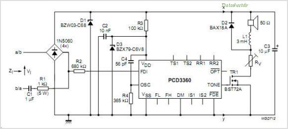 PCD3360 PCD3360 Programmable Multi-tone Telephone Ringer - schematic