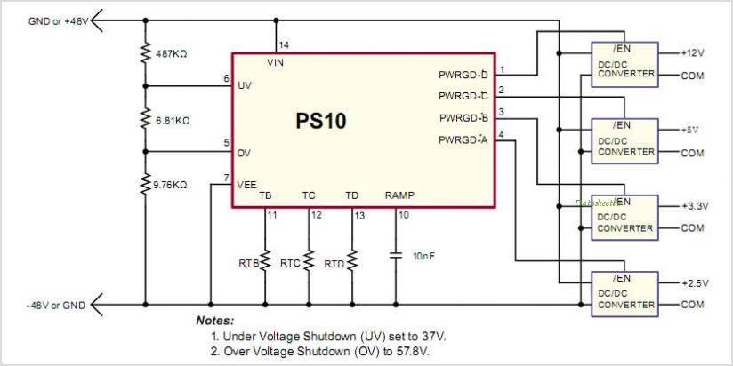 PS10NG Quad Power Sequencing Controller - schematic
