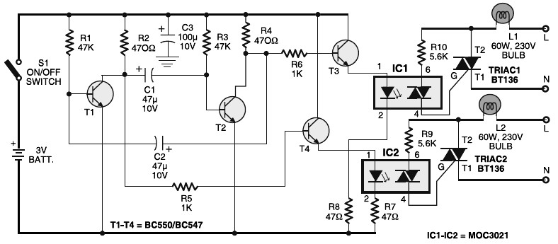 Portable 230v Lamp Flasher Circuit Diagram Under