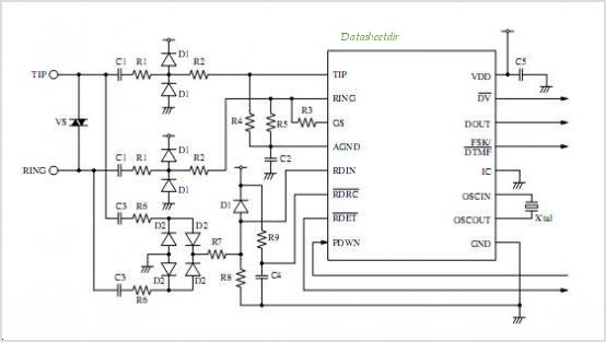 SM8223AP FSK Decoder And DTMF Receiver IC - schematic