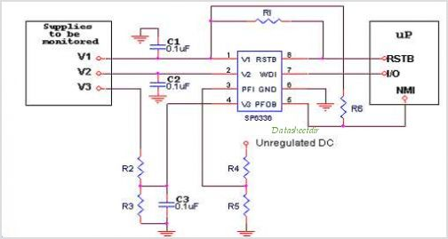 SP6336 SP6336 -Triple Micropower Supervisory Circuit With Watchdog And Power Fail - schematic