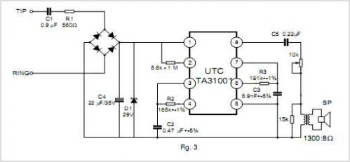 TA31001 Telephone Tone Ringer - schematic