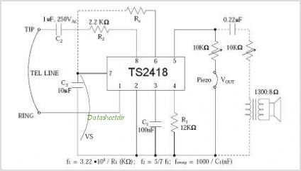 TS2418 Telephone Tone Ringer With Bridge Diode - schematic