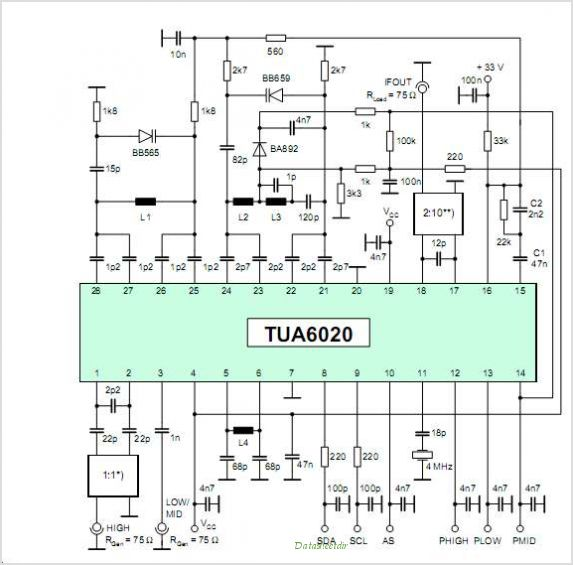 TUA6020 Stationary - MOPLL & Silicon Tuner 2 Band TV Tuner Mixer-Oscillator-PLL With Balanced IF-Amplifier - schematic