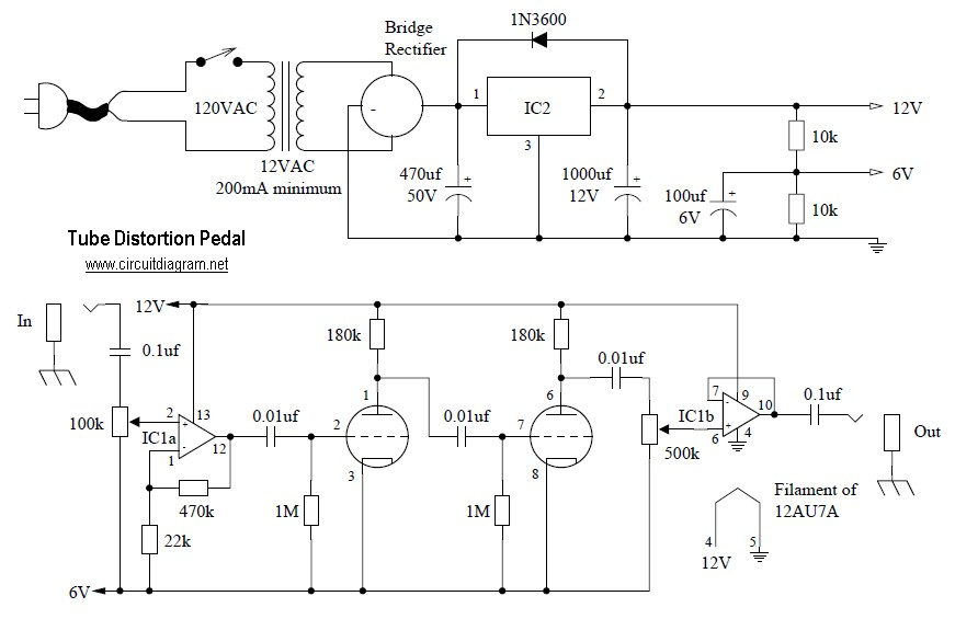 Tube Distortion Pedal circuit diagram