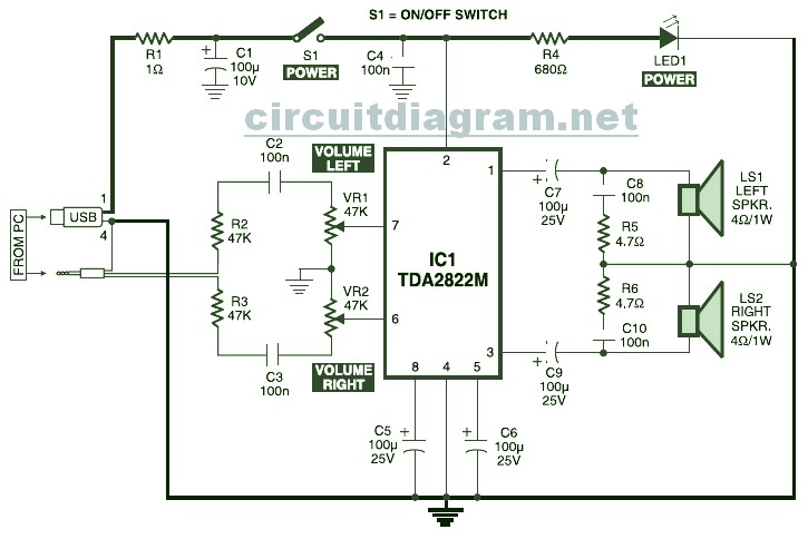 USB Powered Stereo PC Multimedia Speaker Circuit Diagram speaker circuit diagram readingrat net computer speaker wiring diagram at gsmx.co