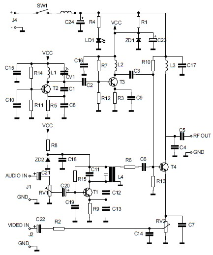 audio-video modulator circuit - schematic