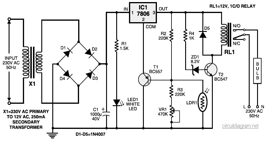 automatic light controller circuit diagram
