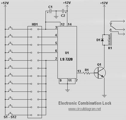 electronic combination lock LS7220 - schematic