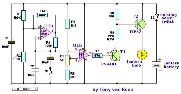 lantern dimmer circuit - schematic