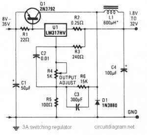 3A Switching Voltage Regulator based LM317HV - schematic