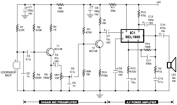 mic condenser amplifier circuit under repository