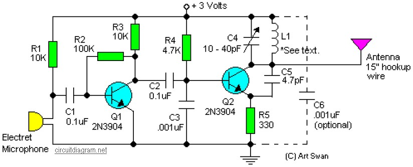 sensitive FM Transmitter - schematic