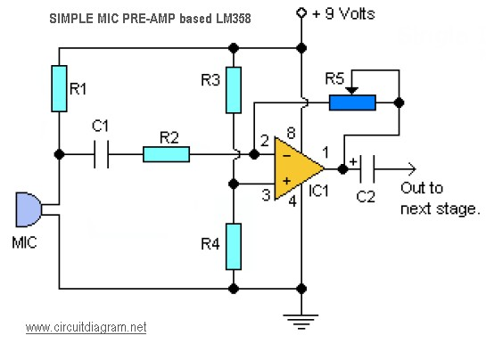simple mic pre-amp based LM358 - schematic