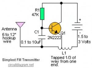 Simplest RF Transmitter - schematic