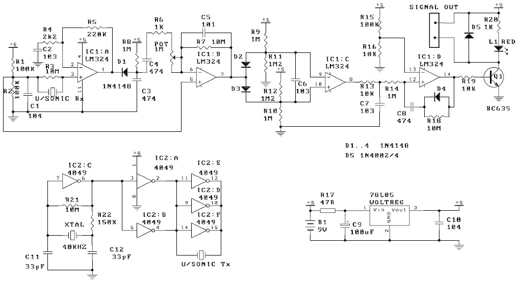 ultrasonic motion detector - schematic