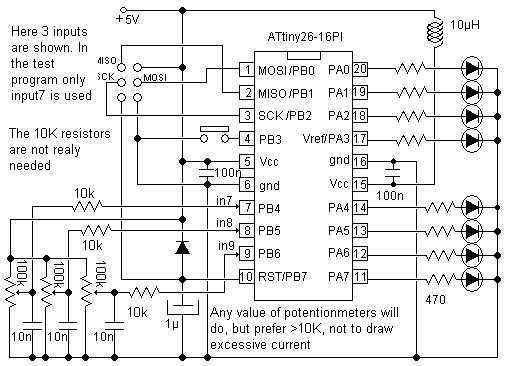 10 Bit analog to digital converter - schematic