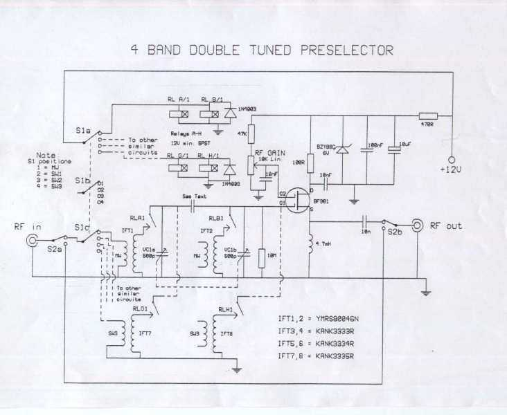4 Band Double Tuned Preselector - schematic