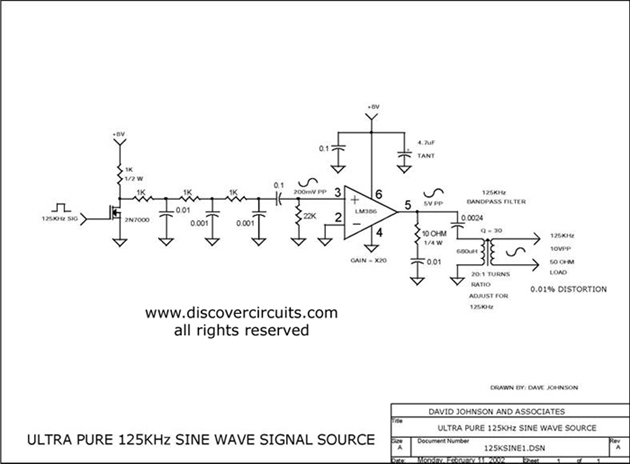 ULTRA PURE 125KHz SINE WAVE SIGNAL SOURCE - schematic