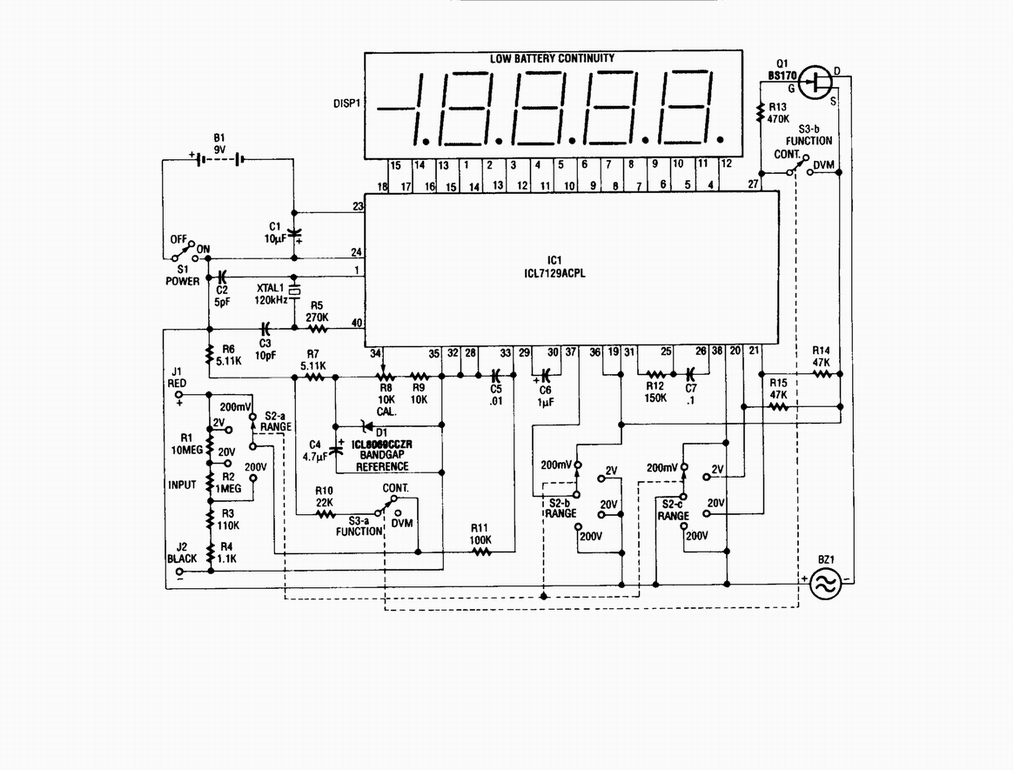 Single-chip digital voltmeter - schematic