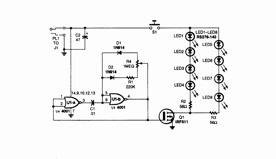IR illuminator for night-vision tv cameras and scopes - schematic