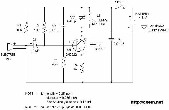 Wireless FM Transmitter - schematic