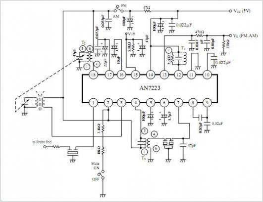 AN7223 Am Tuner Fm/am If Amplifier Circuit For Radio Cassette Recorder Panasonic Semiconductor - schematic