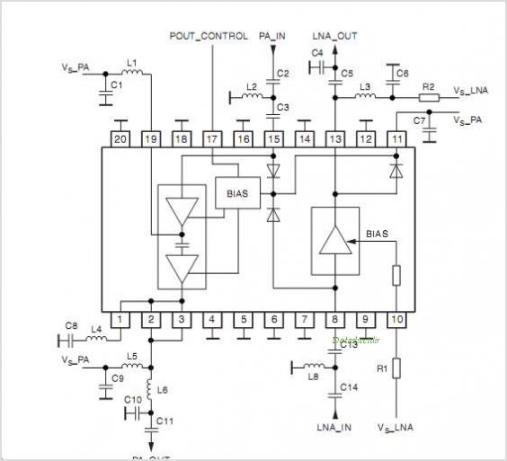 ATR0981 ATR0981 UHF SiGe Front-end IC - schematic