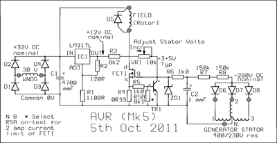 AVR for a Three Phase Generator - schematic