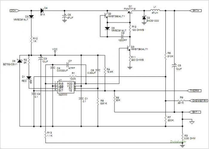 BQ2000 Switch-mode Multi-Chemistry Battery Charger With Peak Voltage Detection Termination - schematic