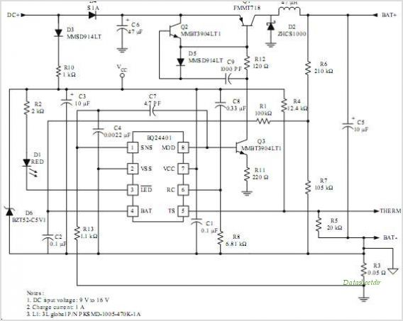 BQ24400 Switch-mode NiCd/NiMH Battery Charger With Peak Voltage Detection Termination - schematic