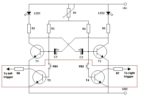 Astable multivibrator in an 8 pin PIC - schematic