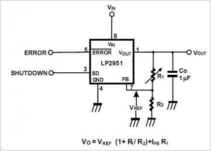 LP2951CMX Adjustable Micro Power Voltage Regulator - schematic