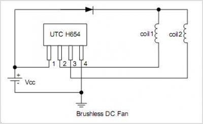 H654 Complementary Output Hall Effect Latch - schematic