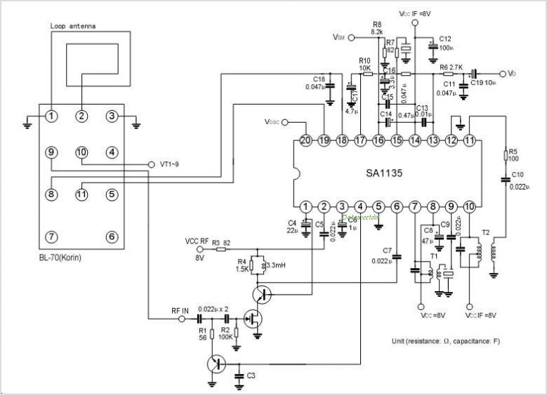 SA1135 AM RADIO IC FOR DIGITAL TUNING SYSTEM - schematic
