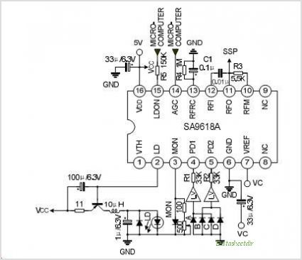 SA9618A RF AMPLIFIER FOR DIGITAL SERVO SYSTEM - schematic